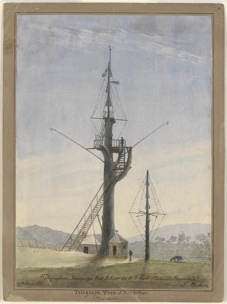 Painting of the Semaphore tower at Port Arthur, by Ludwig Becker1851.